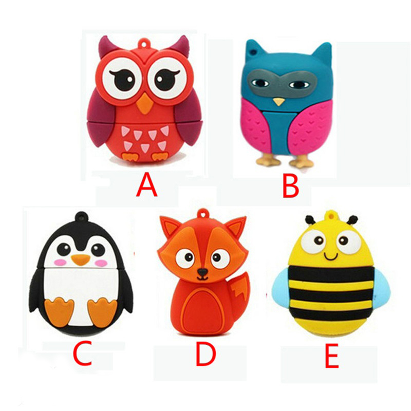 Pendrive 128GB Animal FOX bee USB Flash Drive Memory Stick/thumb 4g 8g 16g 32g 64g owl penguin flash Pendrive tiny U Disk