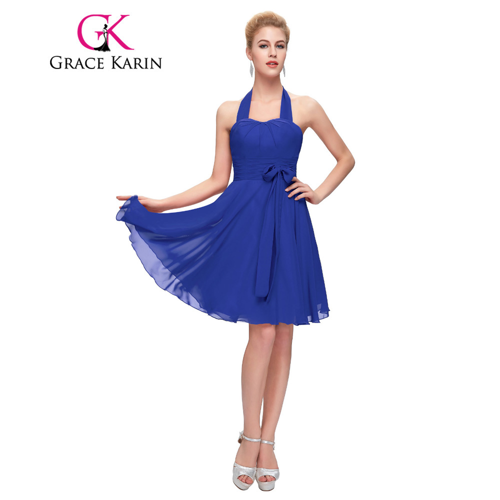 Online get cheap bridesmaid red dress halter aliexpress grace karin bridesmaid dress royal blue red purple halter formal party gowns short chiffon cheap special ombrellifo Images