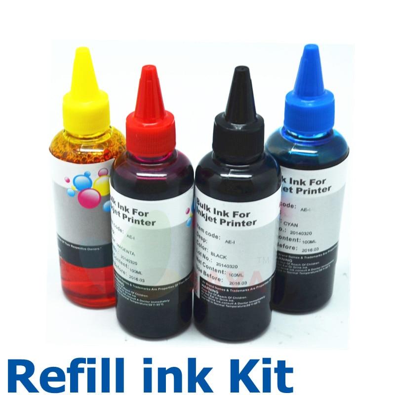 HP сиялы принтерге арналған 400 мл сияны толтыру жинағы HP үшін 4 түрлі түсті сия шишасы Принтер картриджі мен Ciss үшін принтердің жаппай сиясын толтыру