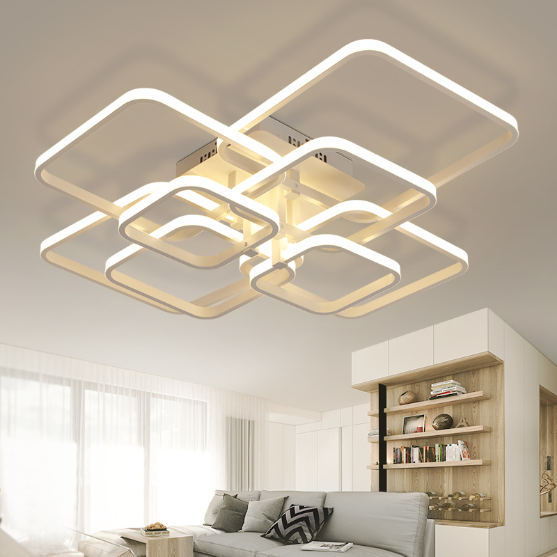 Rectangle Acrylic Aluminum Modern Led ceiling lights for living room bedroom AC85-265V White Ceiling Lamp Fixtures AC 100-240V neo gleam rectangle modern led ceiling lights for living room bedroom white or black aluminum 85 265v ceiling lamp free shipping