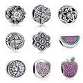 Auténticos 100% Plata Esterlina 925 Brillantes Multicolores de Cristal Original Charm Fit Pandora Pulsera DIY Perlas Joyería Que Hace