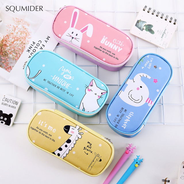 Creative Animals Pencil Case Simple Design  Zipper Pencil Bags Large Storage Pen Holders School Supplies Stationery Pencil Box