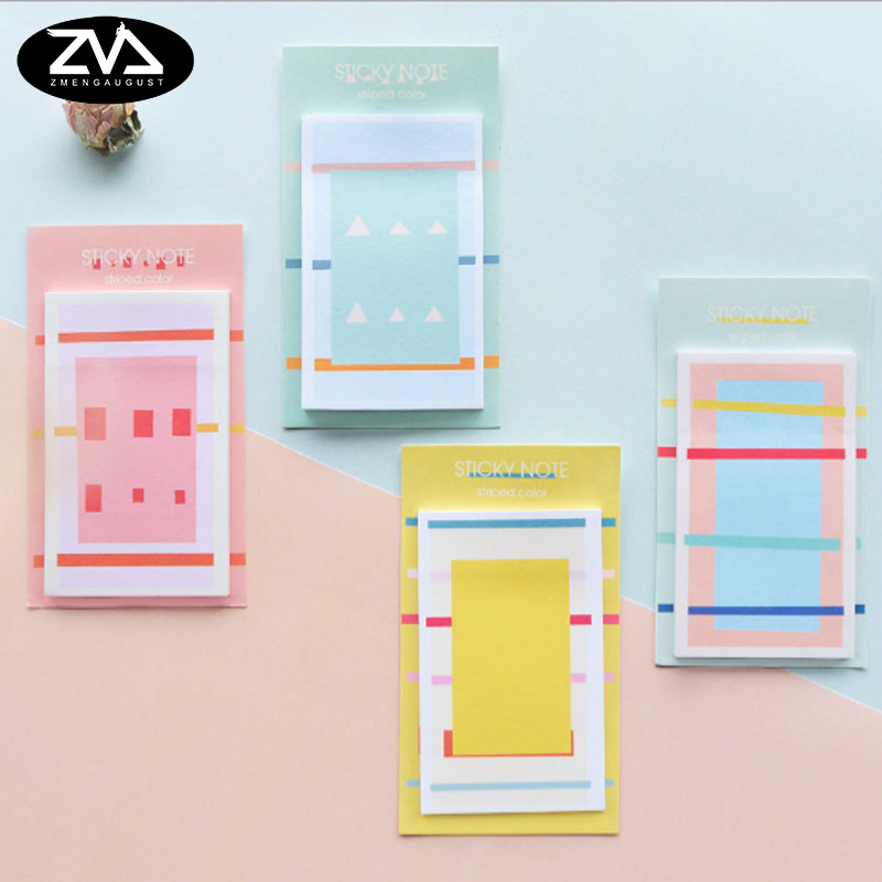 4pcs/lot Cute geometric weekly plan Sticky Notes Post Memo Pad kawaii stationery School Supplies Planner Stickers Paper
