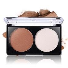 Kit de maquillaje Contorno 1 Unids/lote Resaltar Y Polvos bronceadores Paleta de 2 Colores Face Contour Shading Polvo Recorte Maquillaje En Polvo