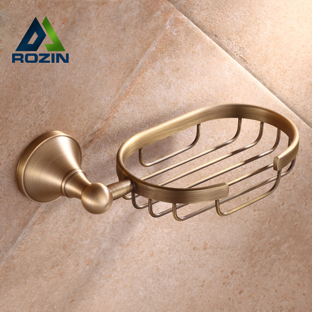 Free Shipping Wall Mounted Brass Bath Soap Dishes Basket Holder Tray