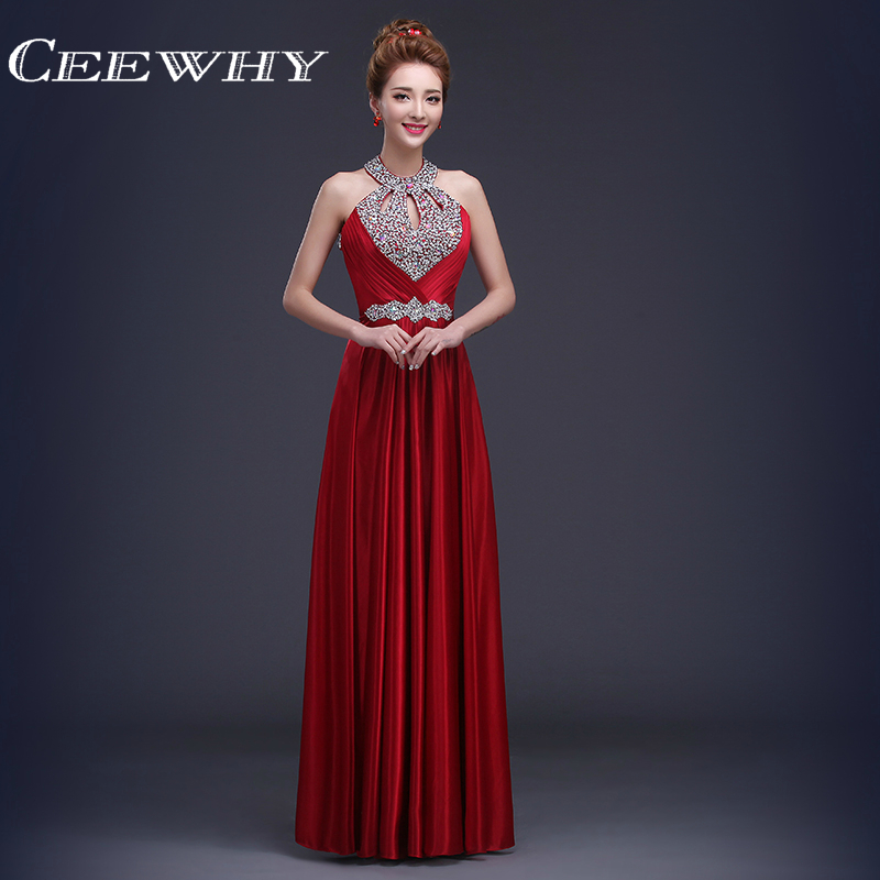 CEEWHY Vestido de Festa de Casamento Long Crystal   Bridesmaid     Dresses   Wedding Party   Dresses   Customized Formal Prom Party Gowns