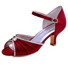 65a02541723a3d HP1623 bourgogne femmes sandales de mariage mariée bout ouvert strass mi- talon Satin dame mariée