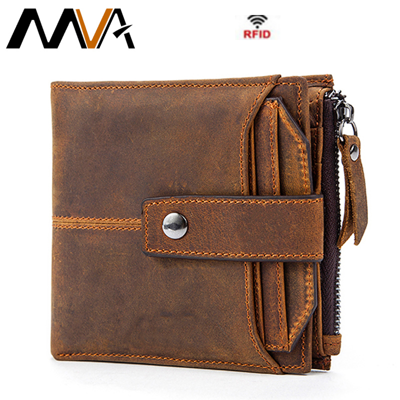 MVA Genuine Leather Men Wallets Clutch Male Vintage Hasp Slim RFID Wallet Short Coin Purse Men Card Holder Clamp for Money 8928 men wallet cowhide genuine leather purse money clutch vintage zipper card holder coin photo 2017 short designer male wallets