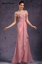 Long Formal Women's Dress Elegant Cap Sleeve Pink Applique Chiffon Mother of the Bride Dresses vestido mae da noiva vanessa mae vanessa mae the best of colour