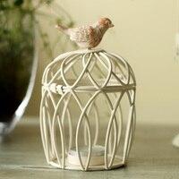 Rèn Lồng Chim Sắt Candle Holders màu trắng Cổ Điển thủ công mỹ nghệ Nến Cưới Trang Trí Nội Thất
