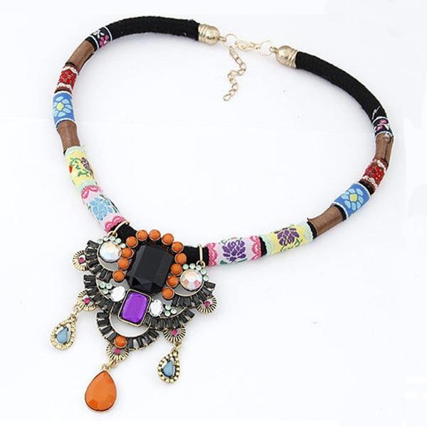 Match-Right Hot Necklaces Pendants Women Statement Necklace  Chain Vintage Ethnic Trend Necklace Enamel Resin Colar Pendant