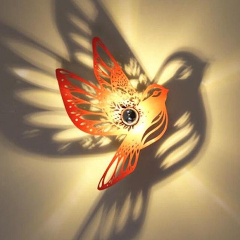 Art déco créatif oiseau lampes murales restaurant bar allée mur LED appliques balcon en bois mur LED lumières fer nouveauté éclairage de la maison