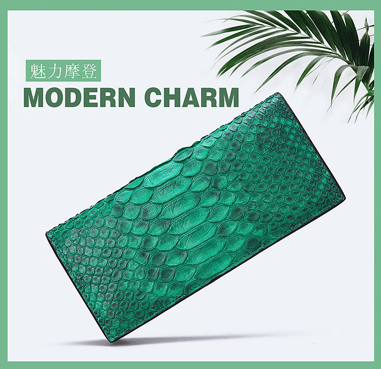 2016 New100 GenuineReal python skin leather long size women wallets and purse + Free shipping Green Blue Yellow Purple