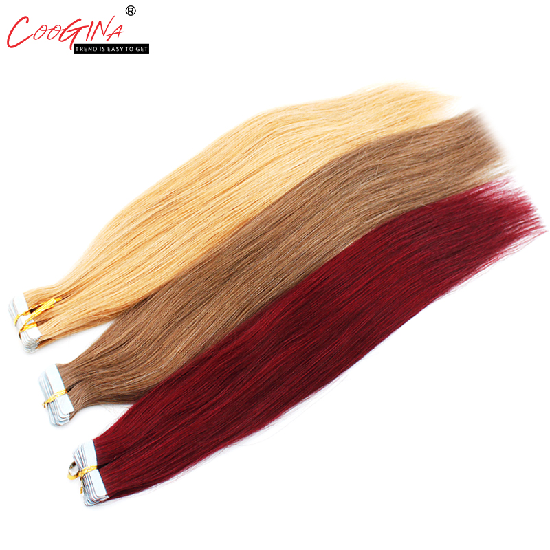 Coogina Women Tape In Human Hair Extensions 16 18 20 22 24 Salon Remy Hair On Adhesives Tape PU Skin Weft Invisible 20pcs