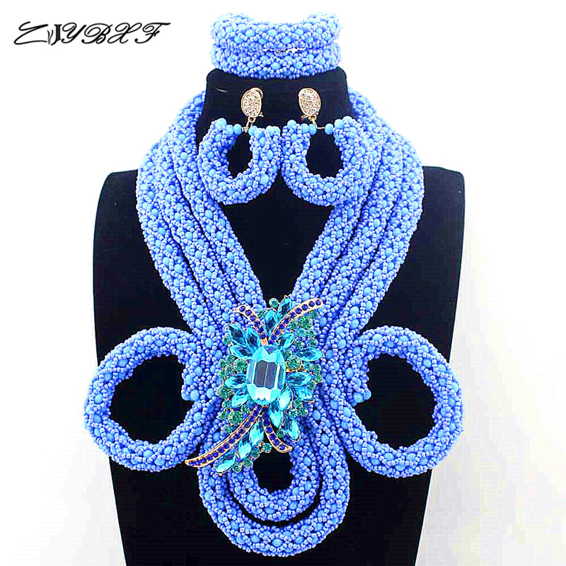 New Luxury Sky Blue Beads Nigerian Wedding African Jewelry Sets for Brides Women Brooch Jewellery Set Free Shipping L1018 new sky blue fashion natural stone fashionable african beads jewelry sets jewelry for women free shipping jb123