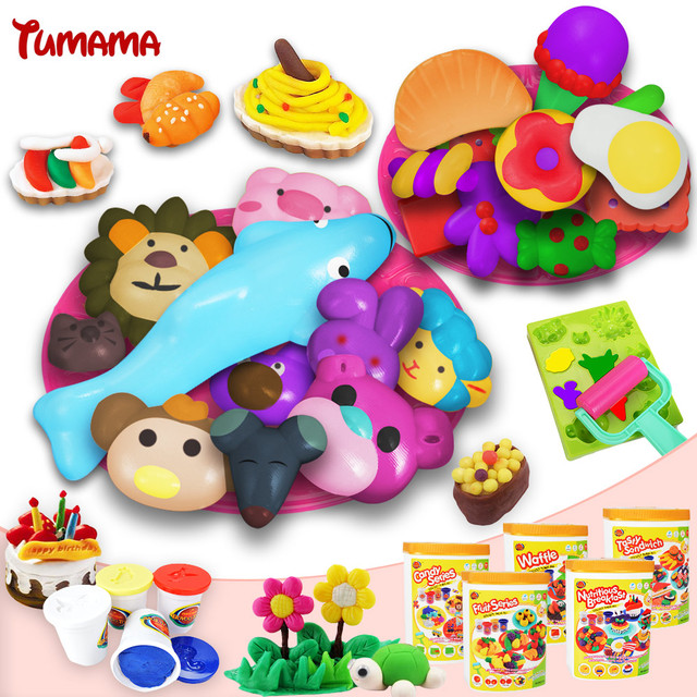 Tumama Multi-colored mud play doh polymer clay plasticine Set Kid's Toy with Playdough creative Moulds Children Educational Toys