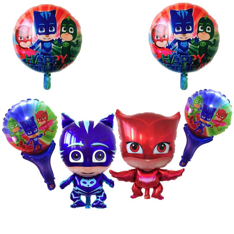 BINGTINA 6pcs Set PJ MASKS Balloons foil balloons cartoon character superman car