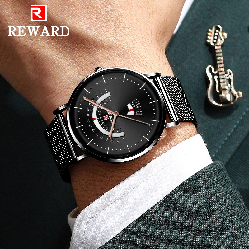 REWARD Unique Creative Watch Men Steel Mesh Band Quartz Clock Mens Watches Waterproof Date Casual Men Wrist Watch Reloj Hombre