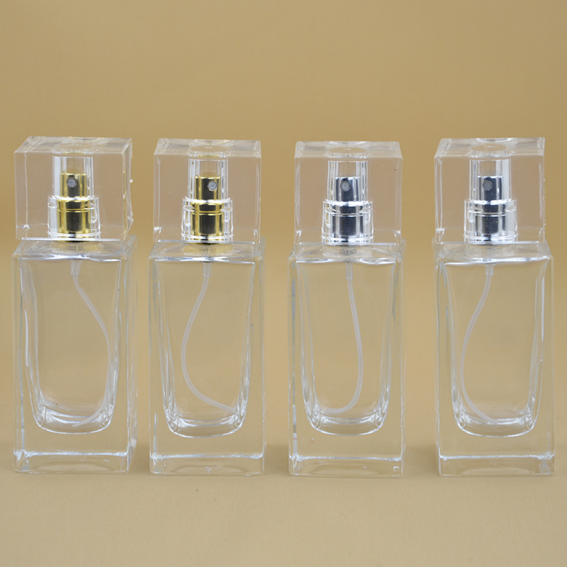 (10pcs a lot) 50ml Practical Glass Refillable Perfume Bottle With Metal Spray Packaging Case With Free Shipping