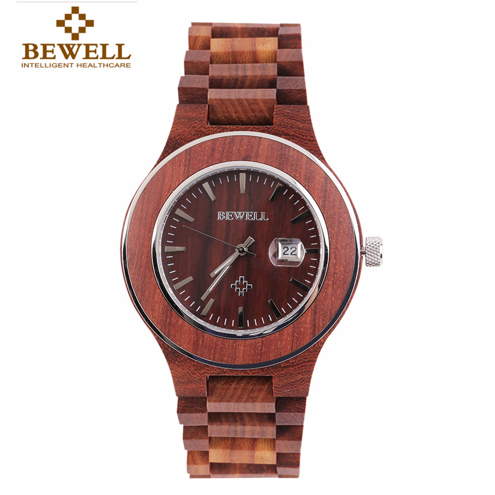BEWELL Waterproof Wood Watch Mens Clock Zebra Stripes Bamboo Time Maker Steel Trim Dial Pure Wood Strap Quartz luxury Wristwatch
