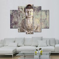 ARTLAND Modern Landscape Beige Buddha Painting on Canvas Wall Art