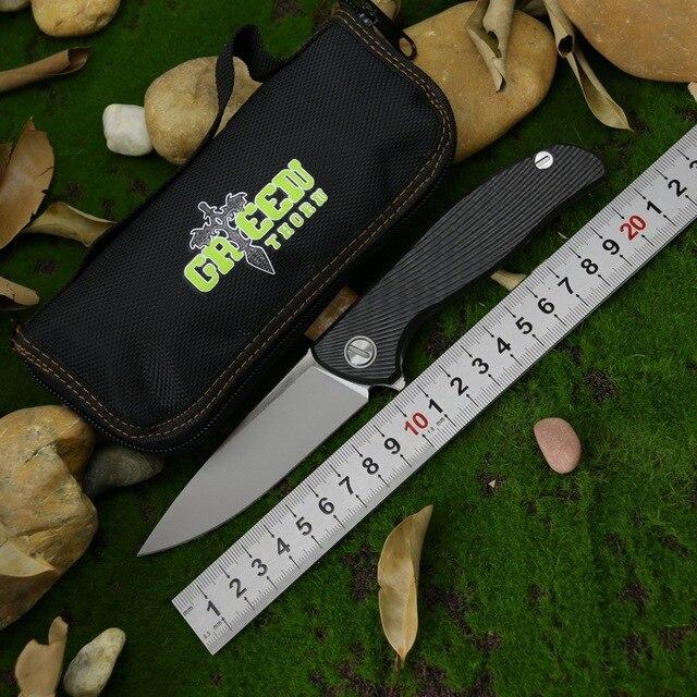 Cuchillo plegable de fibra de carbono con mango de titanio, herramienta de supervivencia EDC, verde, Espino, Hati, personalizado, M390, F95, para acampar al aire libre