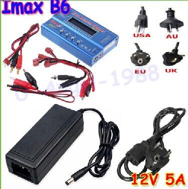 IMAX B6 цифровой RC Lipo NiMh батарея баланс зарядное устройство+ AC мощность 12 в 5A адаптер Прямая поставка - Цвет: B6 Tplug and adapter