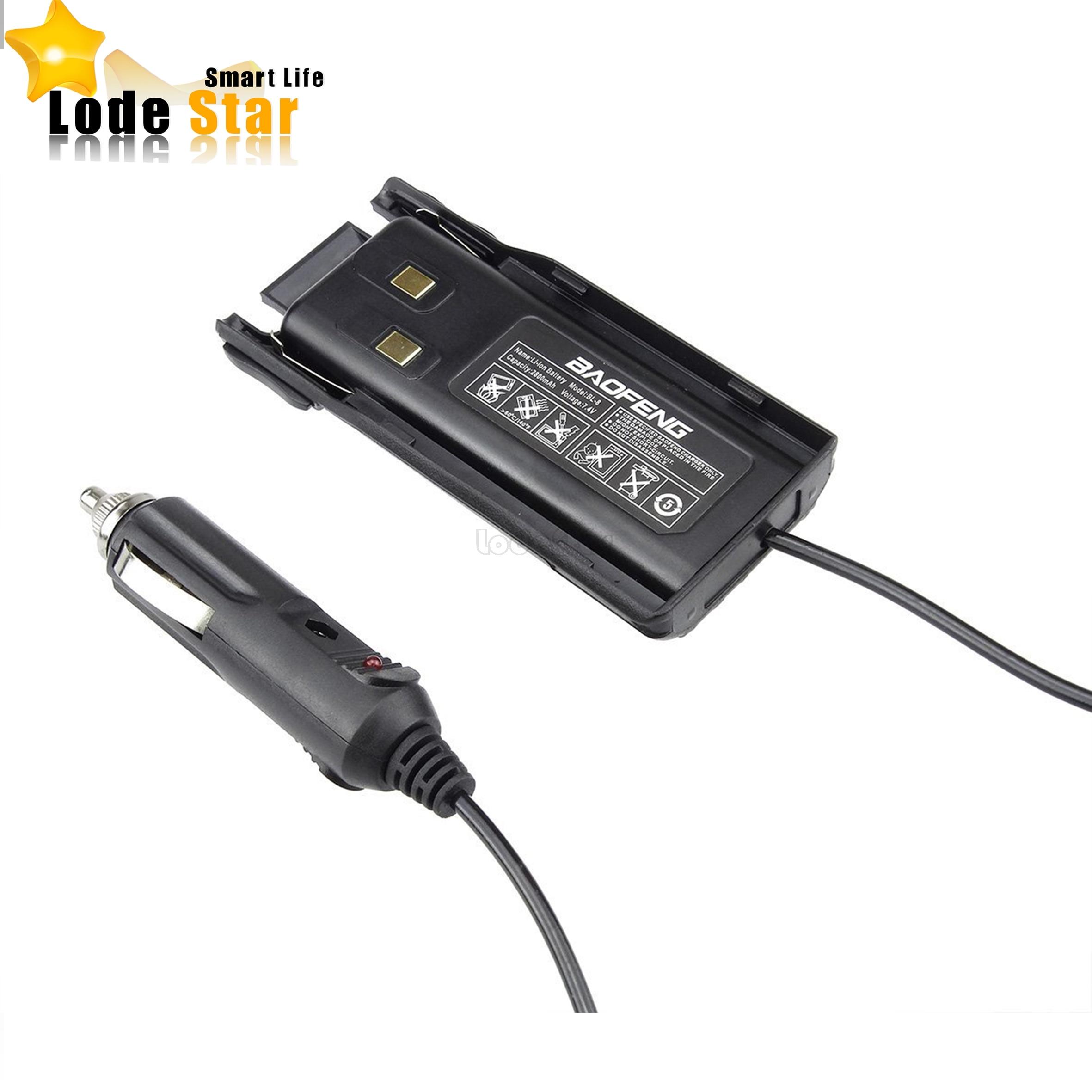 imágenes para Original baofeng uv-82 coche cargador de batería eliminator cargador de coche para la radio cb portátil uv 82 baofeng walkie talkie accesorios