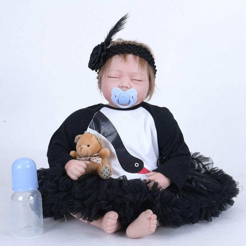 Здесь продается  22Inch Doll Reborn Baby Realistic Accompany Doll Toys For Children Girl Birthday Gifts SB5549 Boneca Reborn Corpo Silicone  Игрушки и Хобби
