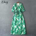 Marca de luxo novo 2017 runway dress banana leaves impresso dress mulheres three quarter sleeve maxi vestidos das senhoras verde longo dress