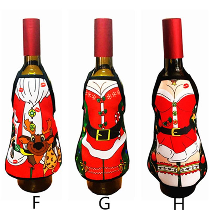 cm de navidad delantal cubierta de la botella de vino de navidad decoracin