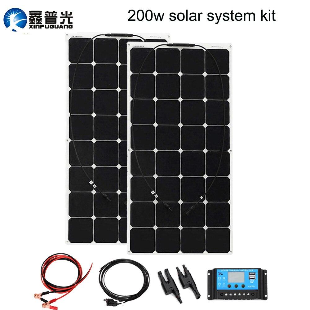 200 W Sistema de panel Solar 2 piezas 100 W potencia flexible panneau solaire souple 20A controlador USB 3 M MC4 cable 12 V/24 V carga de la batería