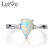 Leige Jewelry Natural White Opal Ring Proposal Ring October Birthstone Pear Cut Gemstone Solid 925 Sterling Silver Simple Rings