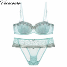 Newest Women 1/2 Cup Push Up Bra and Panties Sets Sexy Lace-trim Plunge Bra Set Plus Size Underwear Sexy Lingerie B54