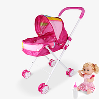 Baby Educational Pretend Play Folding Baby Stroller Toys with Dolls Walkers Pushchair Pram Doll Cart Furniture Toy Set
