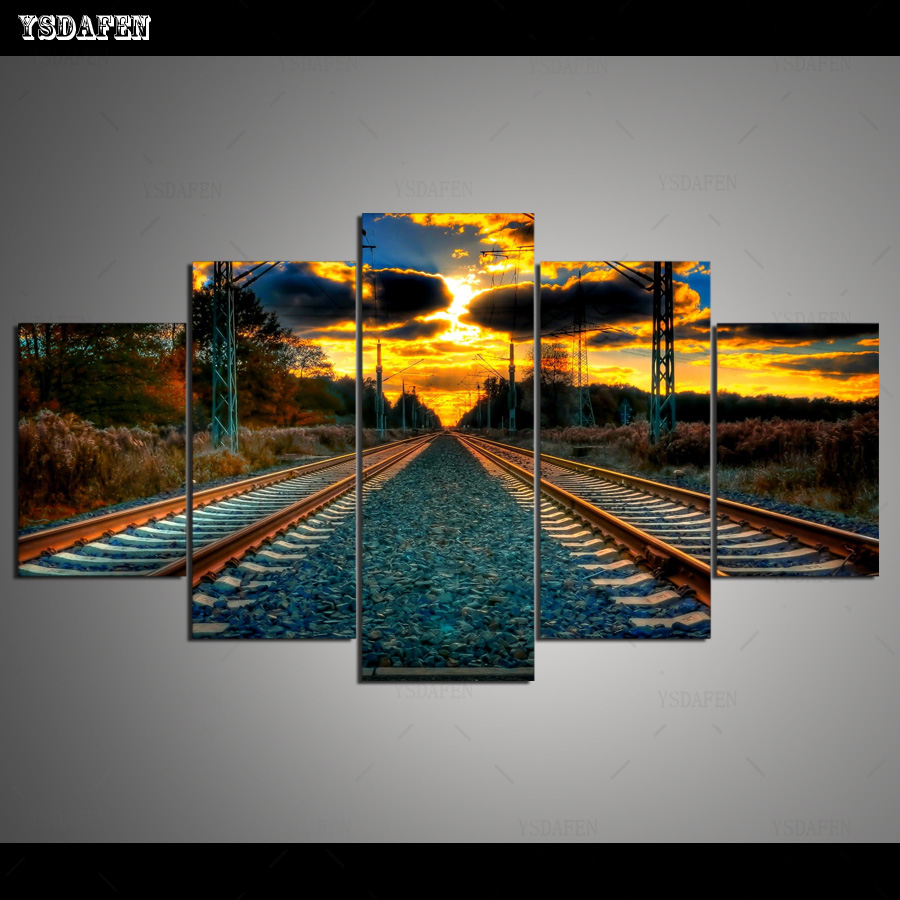 Drop Shipping Wall Decor Railway Canvas Painting Pictures Modular Paintings Wall Art Canvas Prints Framed art HG-319