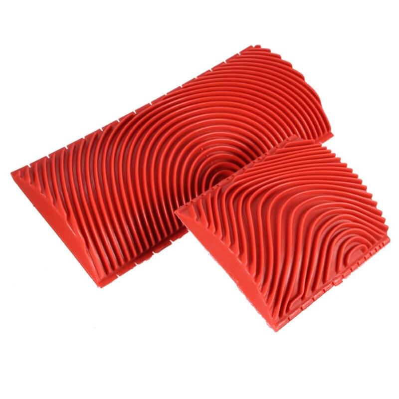 2 pcs Rouge Bois Grainage Grain de Haute Qualité En Caoutchouc Patin Peinture Effets DIY Décoration Murale Outils Grand Petit Taille