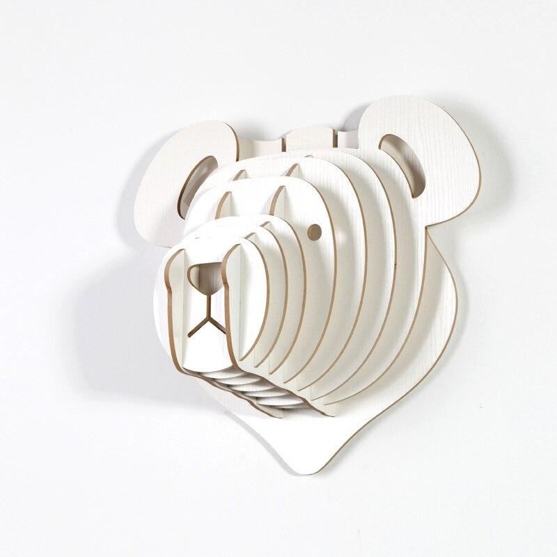 Gros 36x40x22 cm blanc ours en peluche tenture murale artisanat bricolage 3D Puzzle bois Animal artisanat pour la décoration de la maison ours polaire tête d'animal