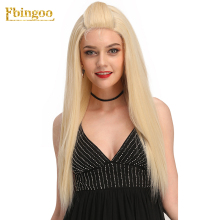 Ebingoo 24 Inch Blonde U Part Synthetic Lace Front Wig with Baby Hair Long Straight Silky Wigs for Women Futura For Daily Wear