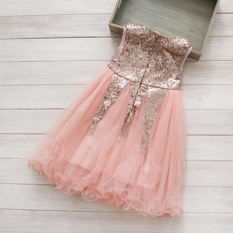 Toddler kids baby girl sequin tulle pink beige red tutu dress ...