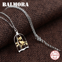 BALMORA 100 Real 925 Sterling Silver Jewelry Birdcage Charm Necklaces For Women Gift Collares High Quality