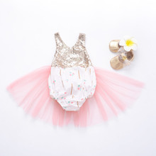 Baby Girl Clothes 2019 Summer New Fashion Baby Girls Romper Sequins Printed Mesh Sleeveless Belt Romper Clothes 0-24M недорого