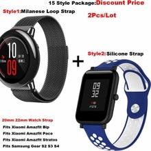 Купить с кэшбэком Smart Watch Bracelet Strap 20mm 22mm Pulsera Correa Band for Xiaomi Huami Amazfit Bip Lite Stratos 2 Pace for Samsung Gear S3