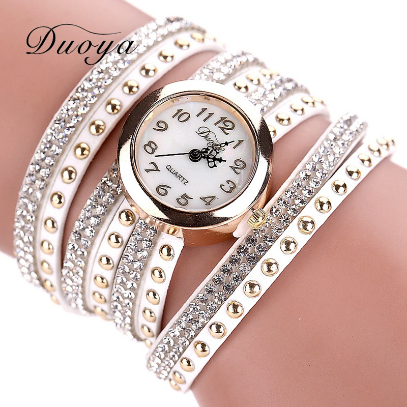 Duoya Lady Brand Leather Bracelet Watch Luxury Women Dress Watch Women Fashion Wristwatch Clock Hours Vintage Quartz Watch XR747 luxury top brand guanqin watches fashion women rhinestone vintage wristwatch lady leather quartz watch female dress clock hours