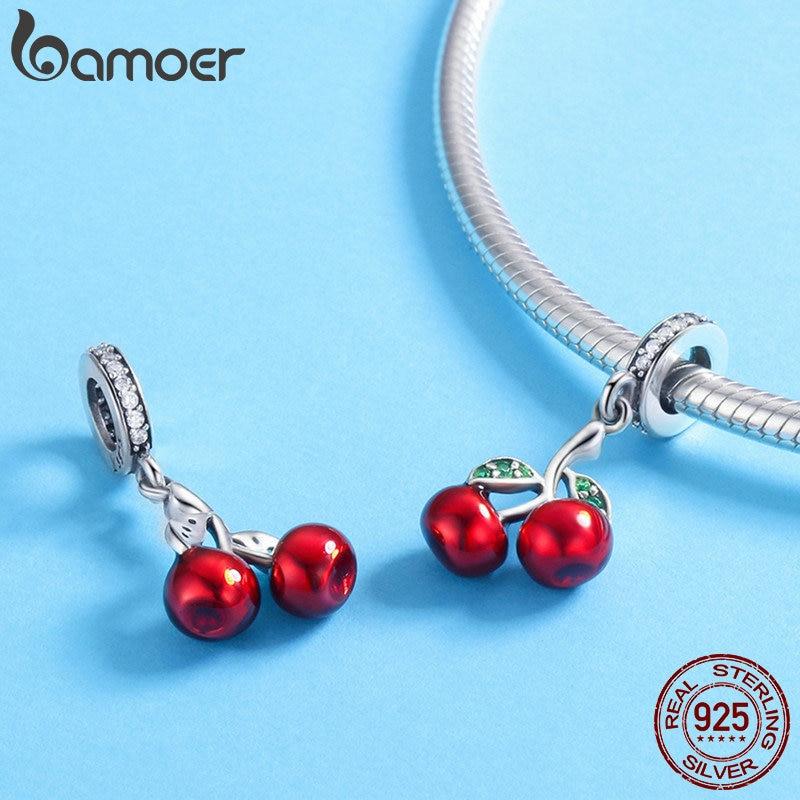 BAMOER 925 Sterling Silver Fruit Red Enamel Cherry pendant Charm for Women Bracelets Necklaces