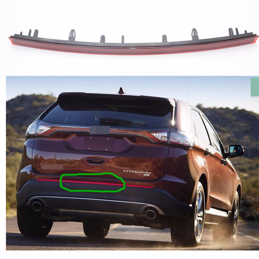 1Pcs Red Lens Tail Rear Middle Bumper Reflector Fog Light Lamp For Ford Edge 2015-2016