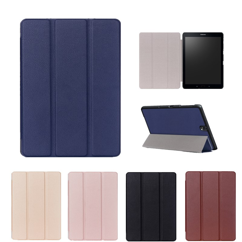 2017 Solid Leather Case For Samsung Galaxy Tab S3 9.7 T820 SM-T825 Tablet Slim Flim Stand Folding The Tablet Protective Cover