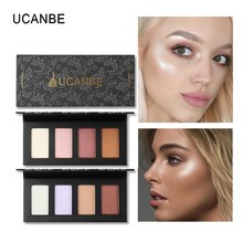 UCANBE 4 Colors Highlighter Palette Shimmer Bronzer Face Contour Powder Brightening Face Glow Highlight Makeup Kit Cosmetics недорого