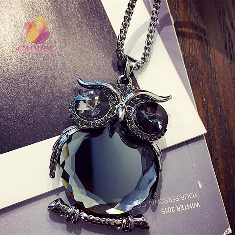 Hot Sell Crystal wild owl Pendant necklace Women Jewelry wholesale(China)