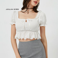 Women Square Neck Chiffon Crop Top Spliced Lace Hem with Puff Sleeve Short Sleeve Blouse(China)